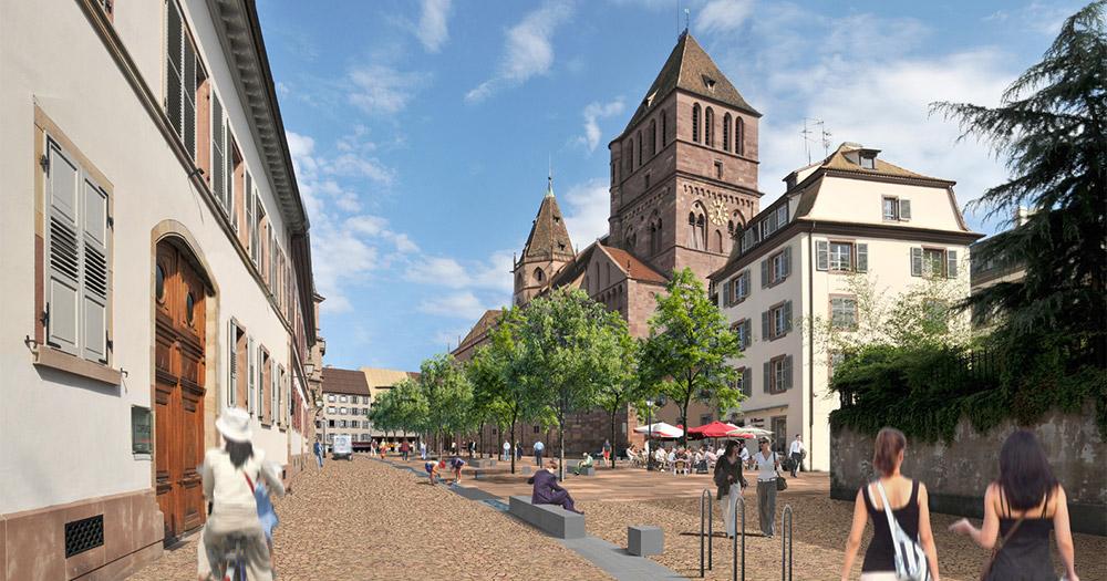 strasbourg place saint thomas gallois curie atelier de paysage architectes paysagistes en. Black Bedroom Furniture Sets. Home Design Ideas