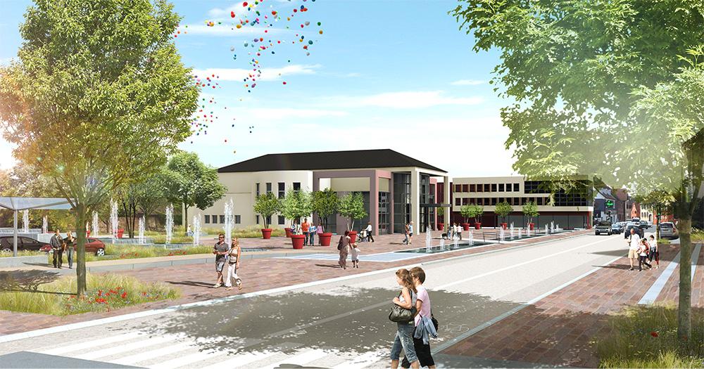 Horbourg wihr place du 1er f vrier gallois curie for Architecte paysagiste alsace