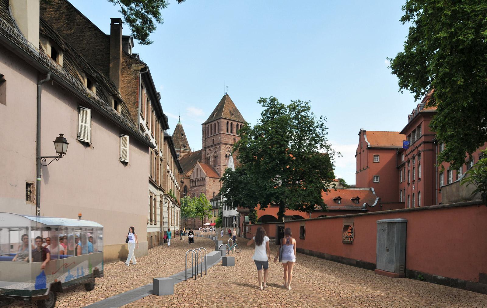 Strasbourg place saint thomas gallois curie atelier de for Architecte paysagiste alsace